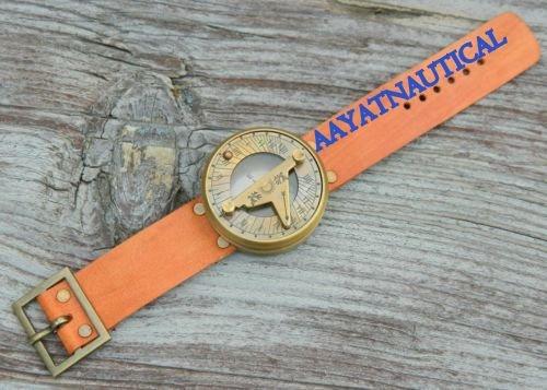 Stempunk日時計コンパス腕時計withハンドメイドレザーブレスレット B06WW4XC7S