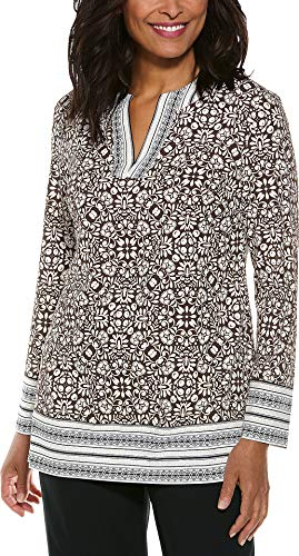 Carry On Long Sleeve - Coolibar UPF 50+ Women's Jardin Tunic Top - Sun Protective (Large- Brown Isle Medallion)