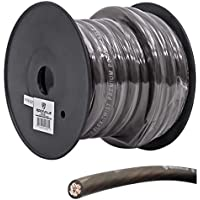 Rockville R0G20BLACK 0 Gauge 20-Ft. Spool Black Car Amp Power+Ground Wire Cable