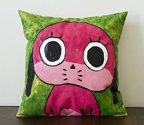 Hand-painted throw pillow, inspired by Maromi from Paranoia agent, 14X14 in