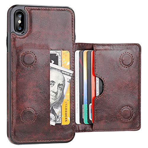 iPhone Xs Max Wallet Case with Credit Card Holder, KIHUWEY Leather Kickstand Durable Shockproof Protective Hidden Magnetic Closure Cover for iPhone Xs Max 6.5 Inch(Brown)