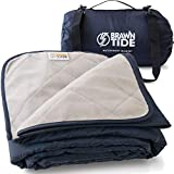 Brawntide Large Outdoor Waterproof Blanket - Quilted with Extra Thick Fleece, Warm, Windproof, Ideal Stadium Blanket, Great for Camping, Festivals, Picnics, Beaches, Dogs (Navy Blue)
