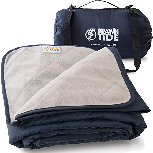 Brawntide Large Outdoor Waterproof Blanket - Quilted, Extra Thick Fleece, Warm, Windproof, with Shoulder Strap, Ideal Stadium Blanket, Great for Camping, Festivals, Picnics, Beaches, Dogs (Navy Blue)