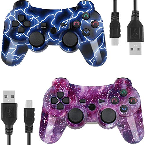 Wireless Pad Ps3 (Kolopc 2 Packs Wireless Controller Gamepad Remote for PS3 Playstation 3 Double Shock - Bundled with USB Charge Cord(BlueFlash and Starrysky))