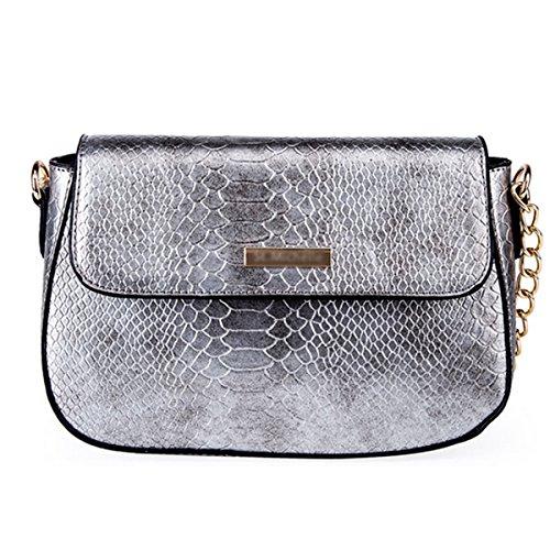 Snakeskin Clutch Lined (Goodbag Boutique Women PU Leather Handbag Sloped Snakeskin Pattern Shoulder Bag Cross-body Satchel Purse (Silver))
