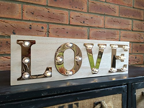 Love Wooden Light Up Sign Carnival Display Plaque Vintage Wedding Decoration by Homes on Trend