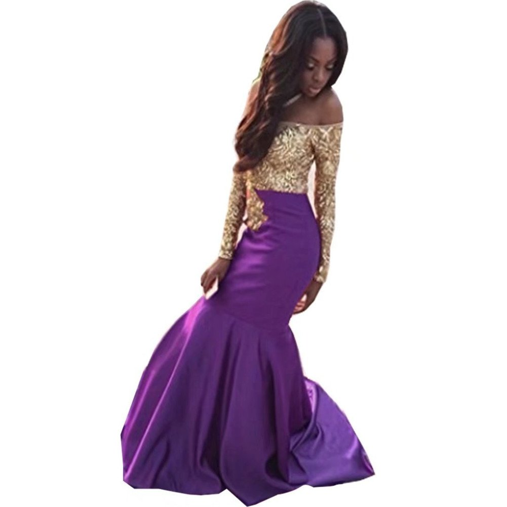 Ladsen Gold Lace Appplique Prom Dresses Long Sleeves Prom ...
