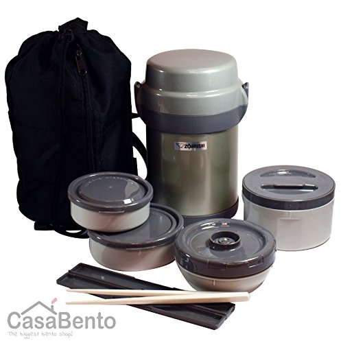 Zojirushi Stainless Steel Vacuum Insulated Lunch Jar, 1.23 Litres, Silver (SLJAF-14-SA) by Zojirushi