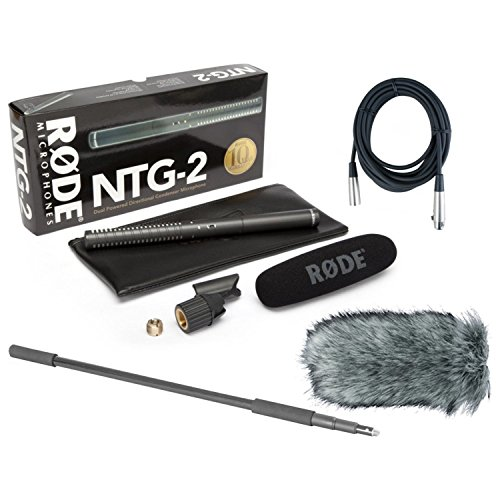 Rode Ntg 2 Shotgun Microphone - Rode NTG-2 Dual Powered Condenser Microphone w/Handheld Boom Pole, Rode Deadcat, and Mic Cable