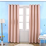 Kinlo Blackout Curtains Grommet Room Darkening Window Curtain Triple Weave Thermal Insulated Drapes 57x96 Inch 2-Panels, Pink