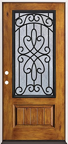 Rustic Pre-finished Fiberglass Prehung Door Unit with Iron Grille 62