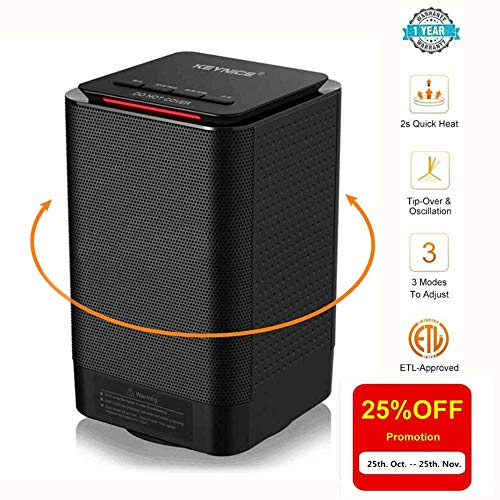Keynice Electric Table Heater 950/450W Warming 5-inch Portable Ceramic Personal Space Heater with Over Heat Protection, Tip over Protection Mini Heater for Home Office Indoor Use - Black Ceramic Heaters KEYNICE