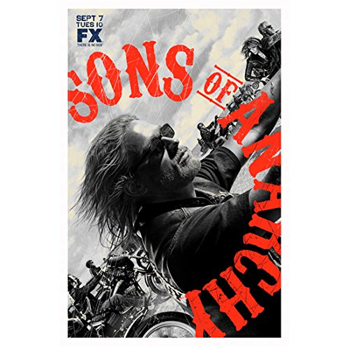 Sons of Anarchy (TV Series 2008 - 2014) 11 Inch x 17 Inch lithograph Charlie Hunnum on Bike Sunglasses Title in Orange Half Circle - In Anarchy Of Sunglasses Sons