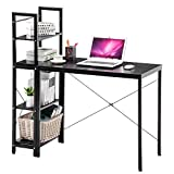 Thaweesuk Shop Computer Desk with 4 Tier Bookshelves Multipurpose Study Table Home Office Wood Particle Board Black 44.33' × 19.76' × 47.52' (L x W x H) of Set