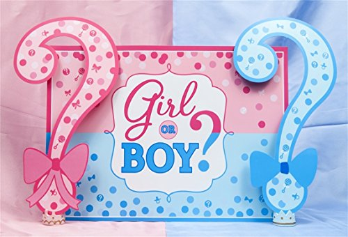 AOFOTO 5x3ft Girl or Boy Gender Reveal Backdrop Baby Shower Party Decoration Photography Background Boy or Girl Banner Pregnancy Announcement Photo Studio Props Photobooth Wallpaper Boy Digital Photo Announcement