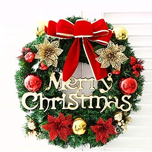(SMYLLS Christmas Wreath with Ball Ornaments, Bells, Christmas Flowers and Merry Christmas (12 Inch, Red and Gold))