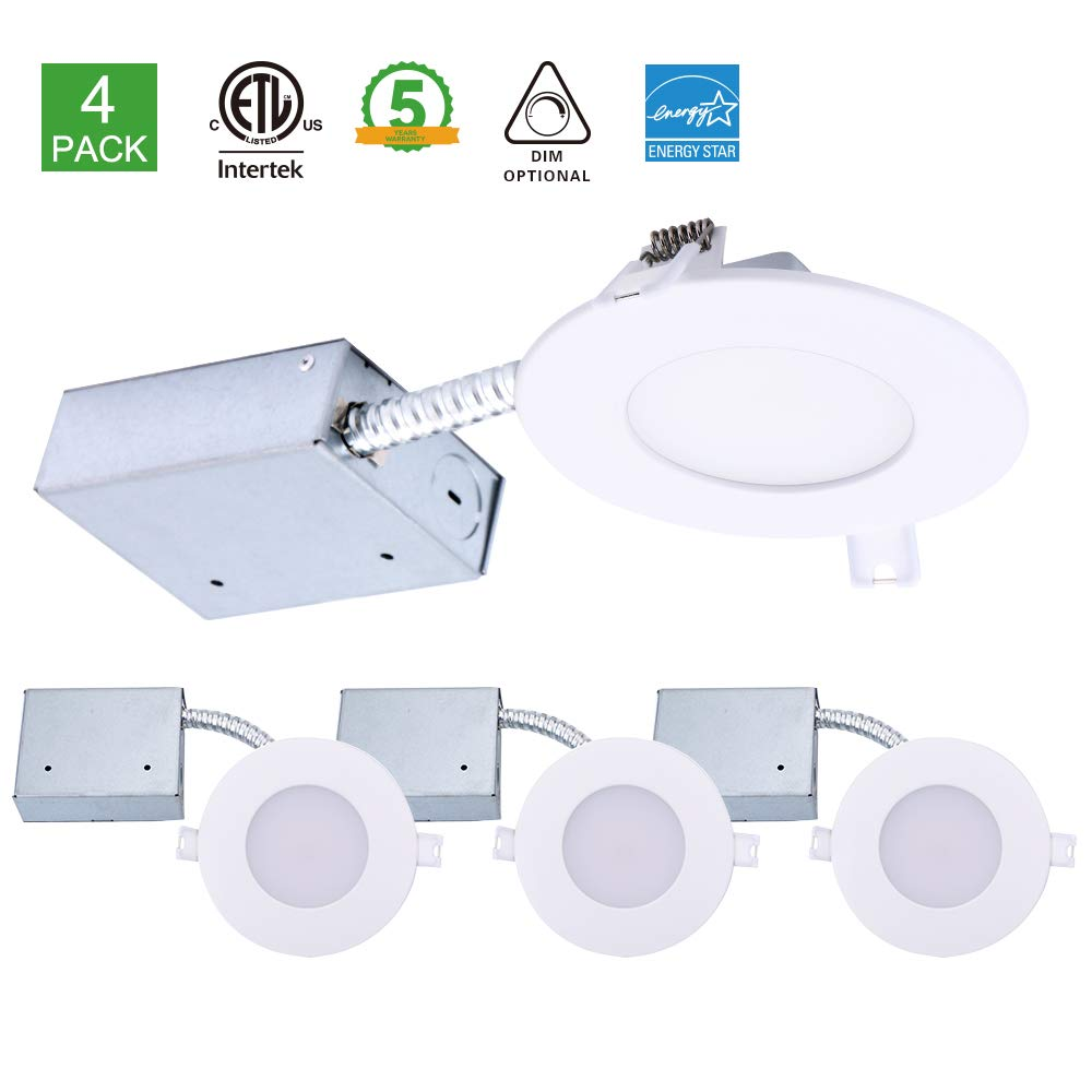 4 inch Ultra-Thin LED Downlight with Junction Box, Dimmable Slim Recessed Ceiling Light with Jbox 11W (65W Replacement), 3000K (Warm White), Indoor Outdoor Retrofit Lighting Fixture Trim Energy Star