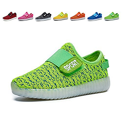 Price comparison product image WAWEN Kids 7 Colors Light up Shoes Fashion USB Charging LED Sneakers for Boys Girls Green US 11 M (Little Kid)