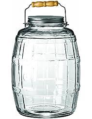 anchor hocking 25gallon glass barrel jar with brushed aluminum lid