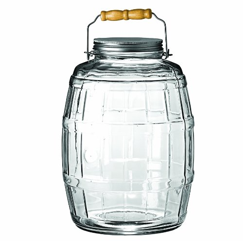 Anchor Hocking 2.5-Gallon Glass Barrel Jar with Brushed Aluminum Lid - Large Glass Jar