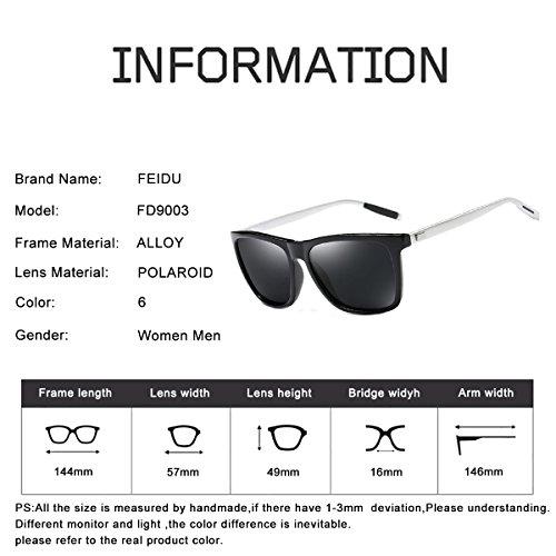 FEIDU Polarized Sport Mens Sunglasses HD Lens Metal Frame Driving Shades FD 9005 Black