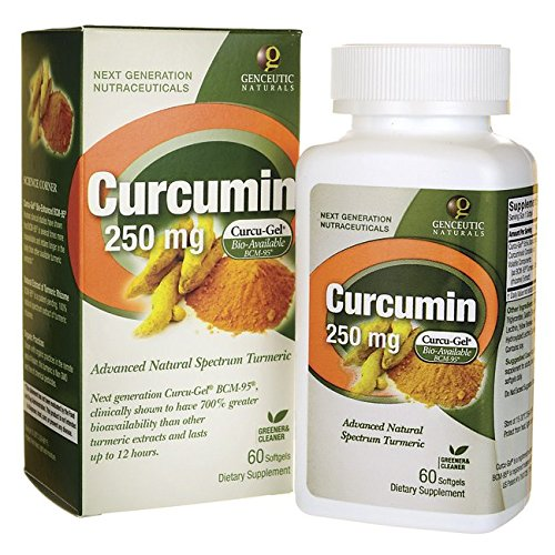 Genceutic Naturals Curcumin 250Mg Herbal Supplement, 60-Count