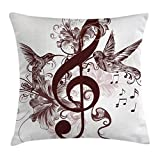 Ambesonne Music Throw Pillow Cushion Cover, Cute Floral Design with Treble Clef and Singing Flying Birds Sparrows Art, Decorative Square Accent Pillow Case, 24 X 24 Inches, Chesnut Brown White