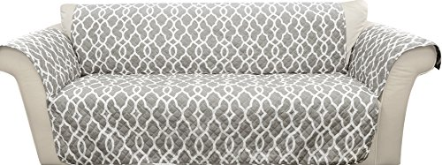 Lush Decor Gray Connor Geo Furniture Protector-Geometric Pattern Loveseat Cover