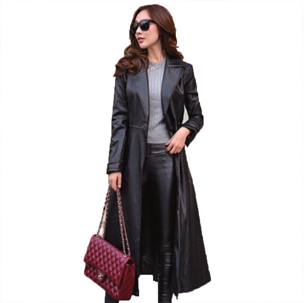 秋と冬の女性のウインドブレーカーの革ジャケットプラスベルベット厚い暖かいヨーロッパとアメリカの女性のロングセクションのPUレザー新しい B07FQN9MR5 XX-Large|ブラック ブラック XX-Large