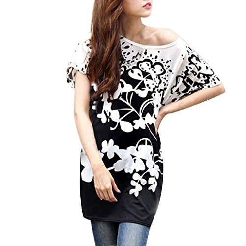 Hee Grand Womens Gothic Floral Printed Bohemia Bat Sleeve Blouse Tee Shirts Top WYD005