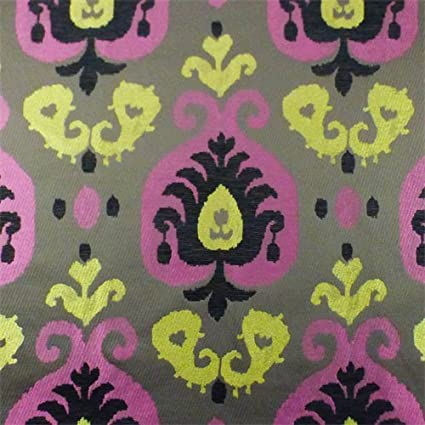 Amazon Com Brown Yellow Pink Paisley Chenille Home Decorating