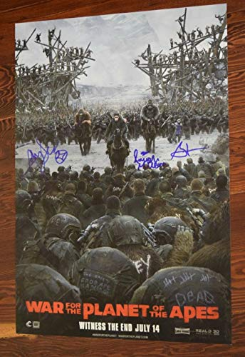 War For The Planet of the Apes Cast Signed 13x19 Poster Serkis A Miller Zahn COA (Cast War Of The Planet Of The Apes)