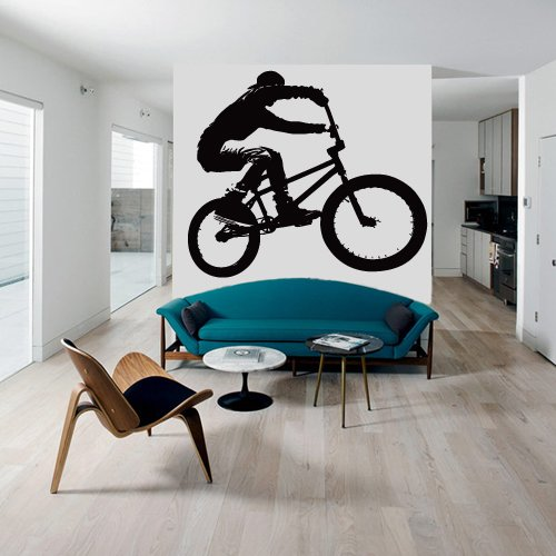 Cheap  Wall Decal Vinyl Sticker Decals Bike Cycle BMX Bicycle Silhouette Jump (Z2764)