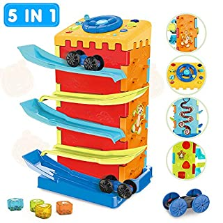 VATOS 5-in-1 Muti-Functional Race Car Ramp Track,Toddler Toys,Educational Cars Toys for 1 Year Old Boy and Girl, Great Gift Choice as Toddler Boy Toys