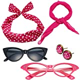 50's Costume Accessories Set Chiffon Scarf Cat Eye Glasses Bandana Tie Headband and Earrings (OneSize, Hot Pink)