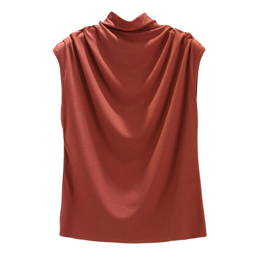 Botrong Womens Tops, Turtleneck Sleeveless Cotton Solid Casual Loose Tunic Top Tee Shirt Tank