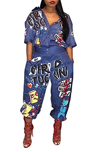 VLUNT Womens Cute Cartoon Printed High Wiast One Piece Harem Jumpsuits Romper with Pockets,Blue-XL