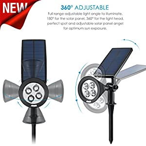 AMIR Solar Spotlights, Upgraded Solar Garden Light Outdoor, 360° Adjustable 4 LED Landscape Lighting, Waterproof Solar Wall Light, Auto On/Off for Yard Driveway Pathway Pool Patio (Changing Color)