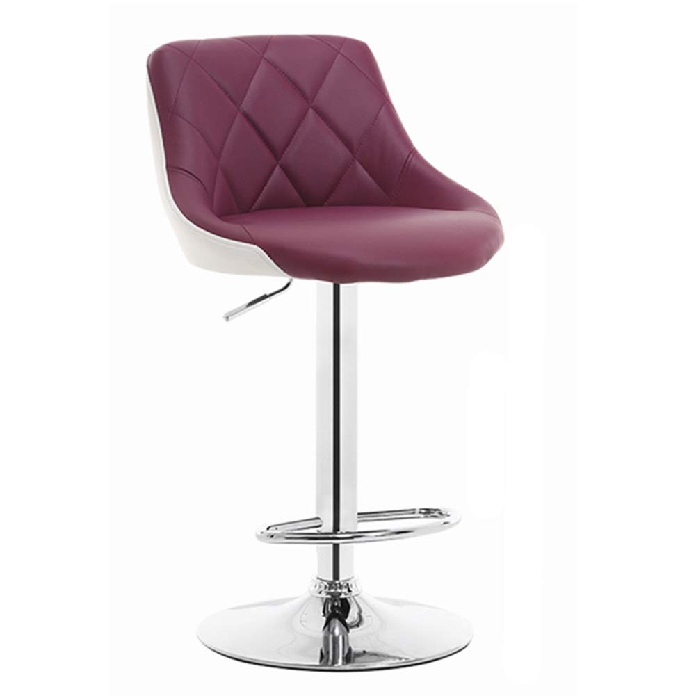 Purple+white LIQICAI Bar Stool PU Leather Adjustable Height with Back Rest Swivel Suitable for Kitchen, Restaurants and Pubs, 6 colors (color   orange+White)