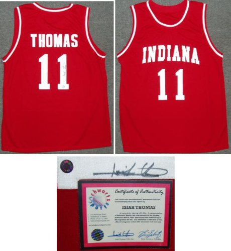 lowest price a5620 7d6a1 Amazon.com : Isiah Thomas Signed Indiana University Red ...