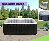 Abreo Inflatable Hot-tub Spa Jacuzzi Outdoor Heated to fit 4 People Includes Protective Cover and Ground Mat