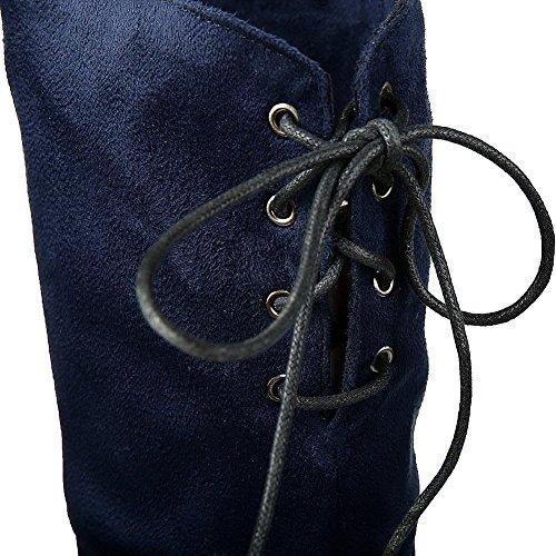 Allhqfashion Mujer-kitten-heels Sólido Redondo Cerrado Cerrado Con Cordones Botas Con Cordones Azul