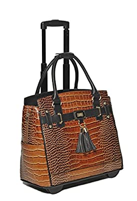 """The Boston"" Alligator Crocodile Alligator Computer iPad, Laptop Tablet Rolling Tote Bag Briefcase Carryall Bag"