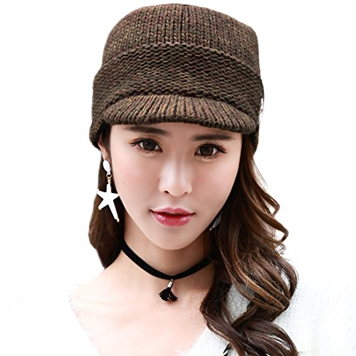 Acrylic Knitted Newsboy Cap Beanies with Visor Bill Cold Weather Winter Hat Ladies Beret SIGGI