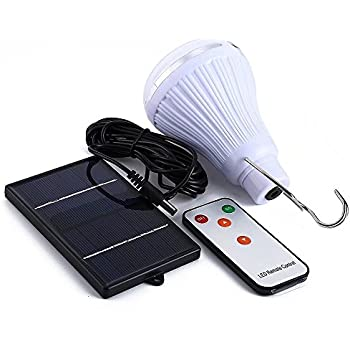 Solar Bulb Dimmable, PRODELI Solar Powered Lights 150LM 20 LED Bulb Portable Multi-functional Lamp with Remote for Camping Tend Hiking Fishing