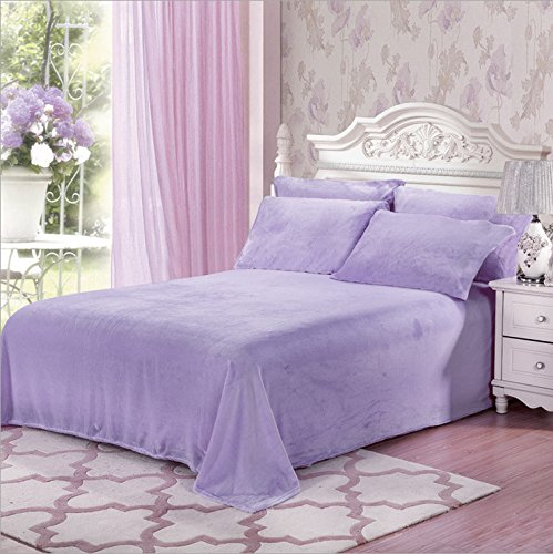 Price comparison product image Fasisa Bedding Set - Flannel Fleece Cozy Warm Super Soft Plush Sheet Set - 1 Flat Sheet, 1 Fitted Sheet with 2 Pillowcases (King, Lavender)