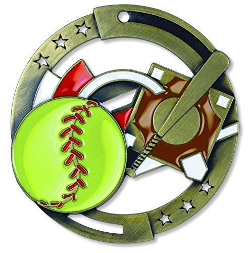 Gold Softball M3XL Die Cast Medal - 2.75 Inches - Includes Red, White & Blue V-neck Ribbon