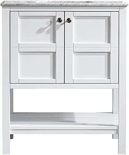 Vinnova 713030-WH-CA-NM Florence 30 Vanity Carrera White Marble Countertop Without Mirror