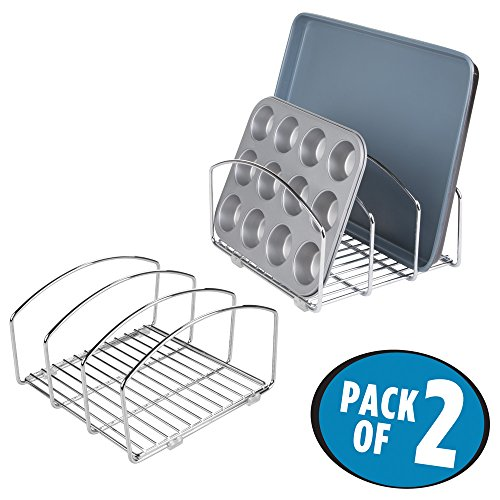 mDesign Kitchen Cookware Organizer for Cutting Boards and Cookie/Baking Sheets – Pack of 2, Chrome