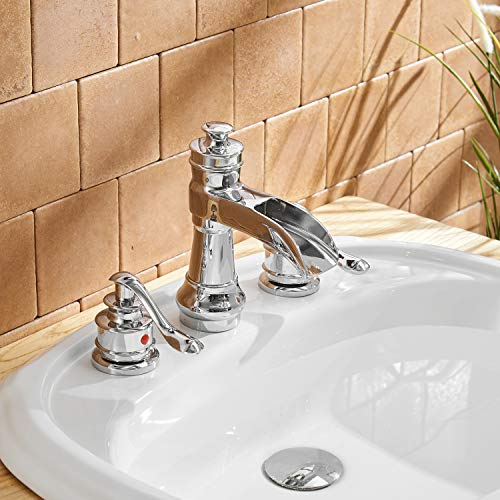 BWE Waterfall 8-16 Inch 3 Holes Two Handle Widespread Bathroom Sink Faucet Chrome by BWE (Image #8)